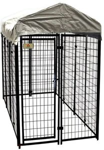 Kennel Kit 4 ft. x 8 ft. x 6 ft. Welded Wire Galvanized Steel Dog Fence Black