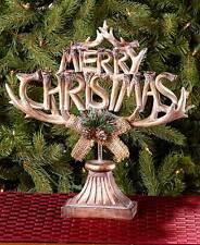 Christmas Deer Antler Sculpture Holiday Decor Cold Cast Ceramic Table Mantle