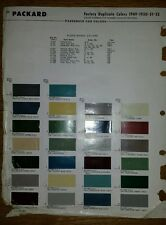 1949-52 Oldsmobile, Packard Paint Colors Chip Page Chips sheet code chart sample