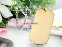 Stainless Steel Polished Army Military Dog Tag Pendant Men's Necklace Cool Chain