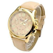 New Fashion Women's Stainless Steel Dial Leather Band Analog Quartz Wrist Watch