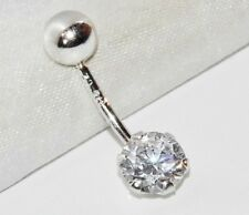 Solid 9ct White Gold NEW Belly Bar with Simulated Diamond Solitaire