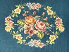 VINTAGE ROSES FLORAL NEEDLEPOINT PILLOW CHAIR COVER BROCADE SHABBY COTTAGE GREEN