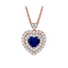 "Women's 10k Rose Gold Over 1.10ct Blue Sapphire Heart Shape Pendant Necklace 18"""
