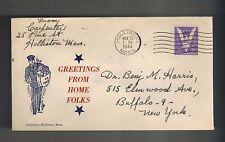 1944 Holliston Massachusetts Buffalo New York WWII Illustrated Patriotic Cover