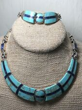 VINTAGE TAXCO MEXICO SILVER .950 SIGNED ESCORCIA NECKLACE & BRACELET TURQUOISE
