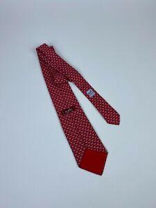 Hermes Paris Red Sea Gulls Print 5192 IA 100% Silk Tie Made in France