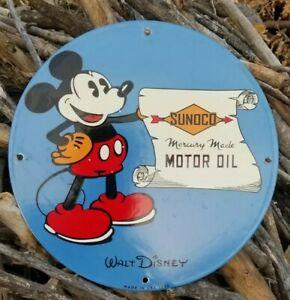 RARE OLD VINTAGE 1933 MICKEY MOUSE SUNOCO PORCELAIN SIGN GAS OIL MERCURY DISNEY