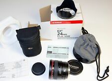 Genuine Canon EF 24mm f/1.4L USM Lens and Hood - Boxed in Excellent Condition