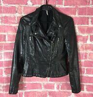 FREE PEOPLE Black Faux Leather Moto Jacket Distressed Women's size 2