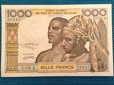 West African States banknote. 1000 francs. 1959-65 ND Issue. AU/UNC.