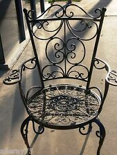 FRENCH garden ARM CHAIR WROUGHT IRON antique brown BEAUTIFUL QUALITY NEW