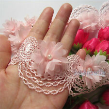 10pcs Flower Pearl Lace Edge Trim Vintage Wedding Bridal Dress Ribbon DIY Sewing