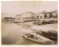 Italie, Pallanza, le port, lac Majeur Vintage albumen print  Tirage albuminé