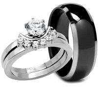 3 PCS HIS and HERS BLACK TITANIUM BAND STAINLESS STEEL WEDDING BRIDAL RINGS SET