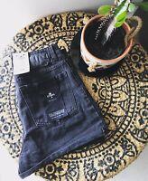 THRILLS  Size 28 BNWT Joni High Waist Relaxed Zip Fly Cuffed Black Denim Shorts