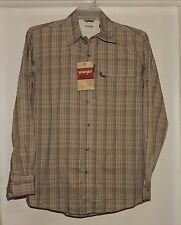 Wrangler Men's L/S Button Front Utility Camp Shirt Beige Plaid Size Small--NWT