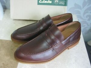 NEW CLARKS CLARKDALE FLOW SOFT BROWN LEATHER LOAFER SHOES UK SIZE 10 & 10.5