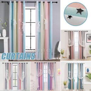 1 Pair Darkening Blackout Rainbow Curtains for Girls Bedroom Kids Room+Tie Backs