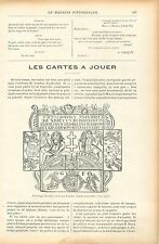 Charlemagne/Cartes à Jouer Goury-Fuzelier Tarots de Marseille GRAVURE PRINT 1906