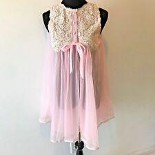 Vintage Gossard Artemis Pink Nylon Chiffon Sheer Babydoll Lingerie Petite M AC