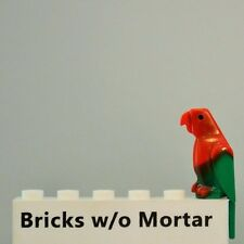 New Genuine LEGO Green Bird with Parrot Marbled Red Feathers Animal