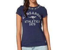 KangaROOS Shirt T-Shirt Logoprint u Strass-Steine Baumwolle Stretch blau Gr. 50