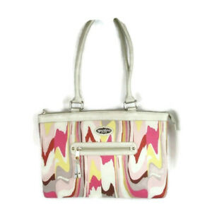 Spartina 449 Laptop Tote Bag Linen Shell Beach Ivory Pink Yellow Slim