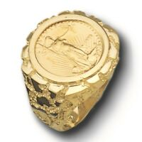 22K FINE GOLD 1/10 OZ US LIBERTY COIN in 14k Yellow Gold Nugget Mens Ring 22 MM