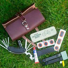 Bicycle Repair Set: Leather Bag, 16-in-1 Tool, Puncture Repair Kit MADE IN UK