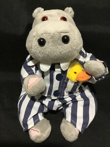Silentnight soft plush hippo toy 24cm promotional hippopotamus in pyjamas