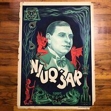 New ListingNiuq'Sar Authentic 1920s Lithograph ~ Vintage 100% Original ~ Rare Magic Poster
