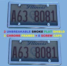 2 UNBREAKABLE Flat Smoke License Plate Shield + 2 CHROME Frame for FREIGHTLINER