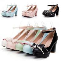 New Women Mary Jane Lolita Block Heels Platform Bowknot Ankle Strap Shoes Casual