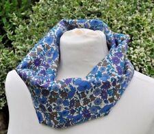 Cowl/snood neck warmer in Liberty Tana Lawn 'Poppy & Daisy' blue, purple, ivory