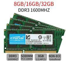 32GB 16GB 8GB PC3-12800S For Crucial DDR3 1600MHz SODIMM 204Pin Laptop RAM Lot