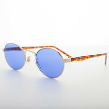 Blue Oval Colored Lens Combo Frame Gold and Tortoise - Hipster