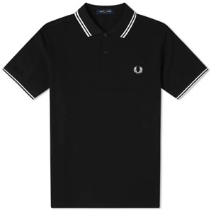 Fred Perry Polo Shirt Black White S M L XL XXL M3600 Slim Fit Pique Twin tipped