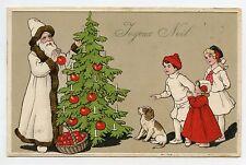 PERE NOËL BLANC. Sapin de Noël . SANTA CLAUS . Christmas tree.