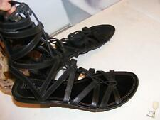 Tall COLE HAAN High Leather GLADIATOR SANDALS Maria Sharapova Women Flat Black 8