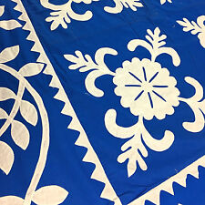 Blue & White Hand Applique Sand Dollar Quilt Top - Incredible vine border finish