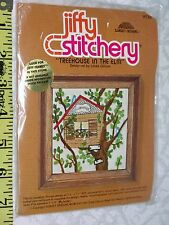 """Sunset Vintage JIFFY STITCHERY KIT TREEHOUSE ON THE ELM 5"""" x 5"""""""