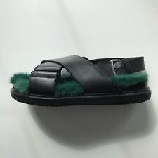 Marni Fussbett leather green mink fur lined sandals EU39 UK6