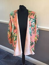 Gorgeous Zara Trafaluc Orange Floral Tropical Print Kimono Jacket Size S