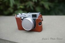 Genuine Real Leather Hall Camera Case bag cover for FUJI X100 X100S Brown