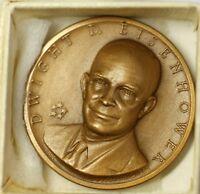 Dwight D Eisenhower Presidential High Relief Bronze Mini Medal in Original Box