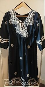 Designer BETTY JACKSON Black/Gold Embroidered 100% Silk Bohemian Dress. Size 14