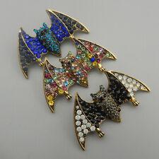 Women's Multi-Color Crystal Rhinestone Cute Bat Betsey Johnson Brooch Pin