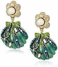 BETSEY JOHNSON BRASS TONE+GREEN SHELL,CRYSTALS,PEARL,STAR,EARRINGS B12377-E01
