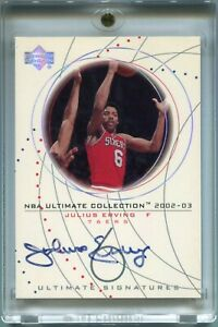 Julius Erving 2002-03 Upper Deck Ultimate Collection Signatures AUTO 76rs Signed